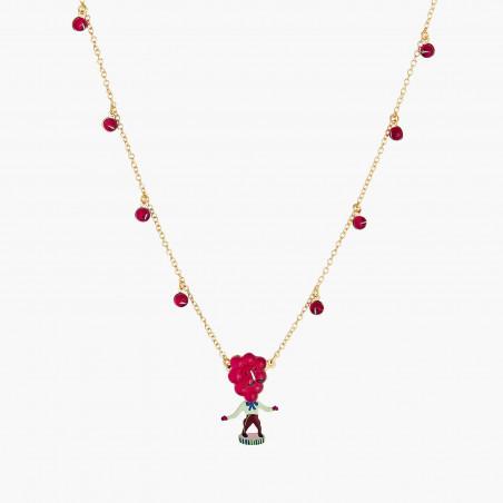 Bracelet double chaîne, fleur rose et petit cœur
