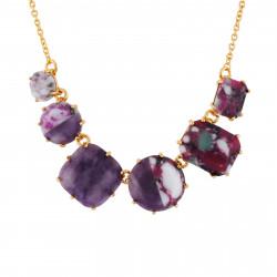 Colliers Fins Collier 6 Pierres Violettes Marbrées