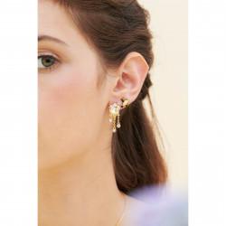 Boucles D'oreilles Pendantes Boucles D'oreilles Tiges Fleurs Et Branches De Cerisier Et Cabochon De Nacre130,00€ ANHA105T/1L...
