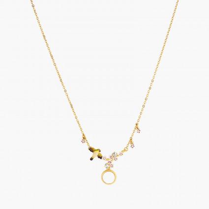 Colliers Pendentifs Collier Pendentif Fleurs, Zostérops Du Japon, Cabochon De Nacre Et Branches De Cerisier150,00€ ANHA305/1...