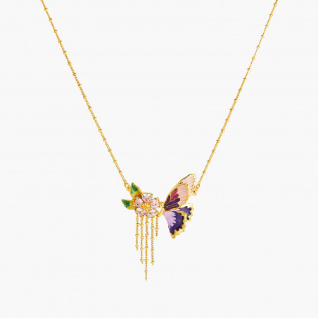 """Love"" crystal and rosebud necklace"