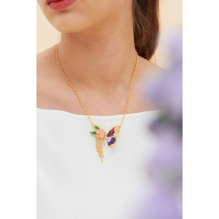 "Enamelled ""Peace"" and little bird necklace"