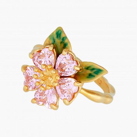 Boucles d'oreilles clip chouette sur verre taillé et fleur rose