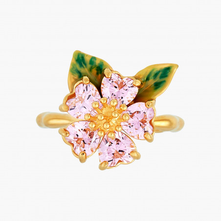 Boucles d'oreilles chouette sur verre taillé et fleur rose