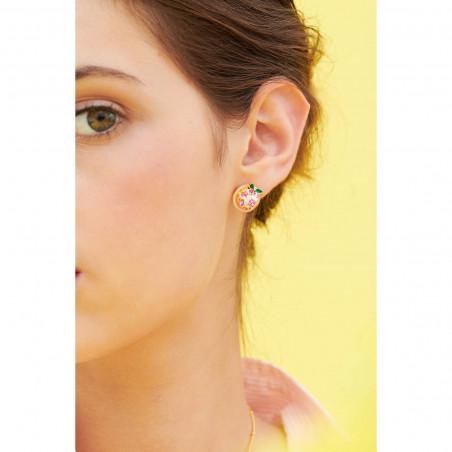 Boucles d'oreilles clip couple de hiboux sur verre taillé et fleurs