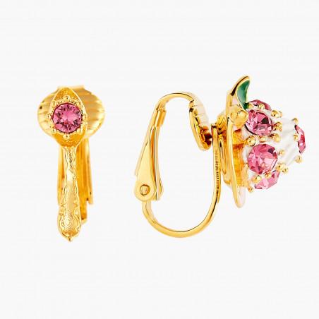 Boucles d'oreilles couple de hiboux sur verre taillé et fleurs