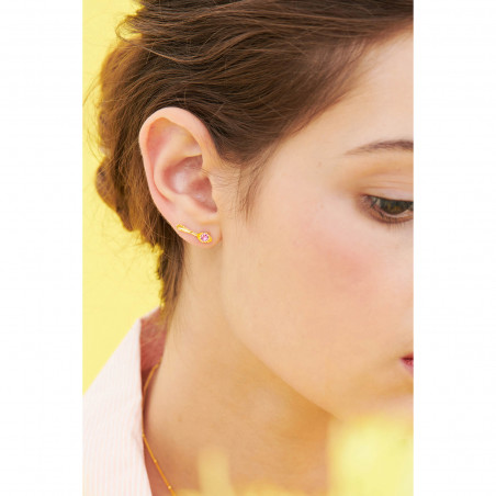 Boucles d'oreilles hibou, verre taillé et petites chaînes