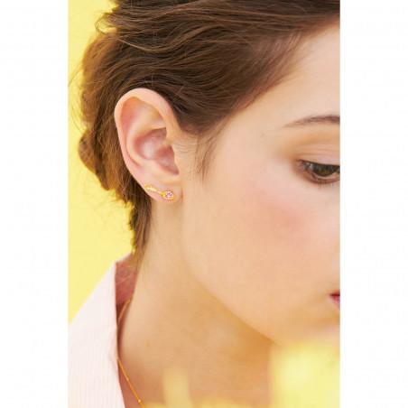 Boucles d'oreilles fleur blanche et fermoir de roses