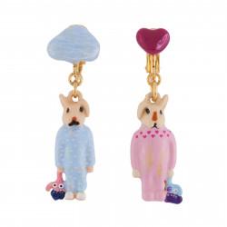 Boucles D'oreilles Boucles D'oreilles Clip Frère Et Sœur Lapins En Pyjama