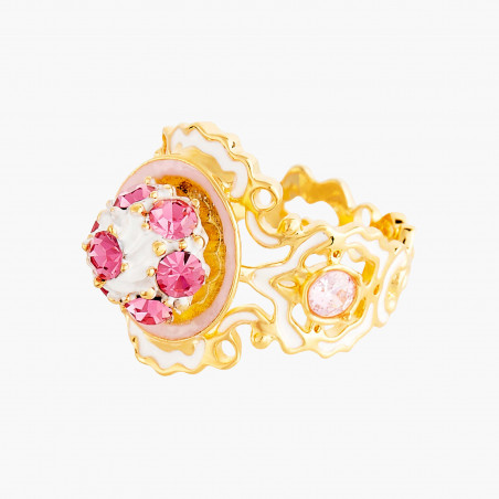 Pink flower, leaves and charms little hoops