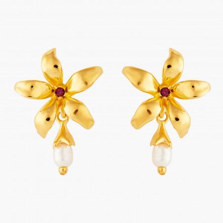 Boucles d'oreilles clip amas de roches en cubes dorés
