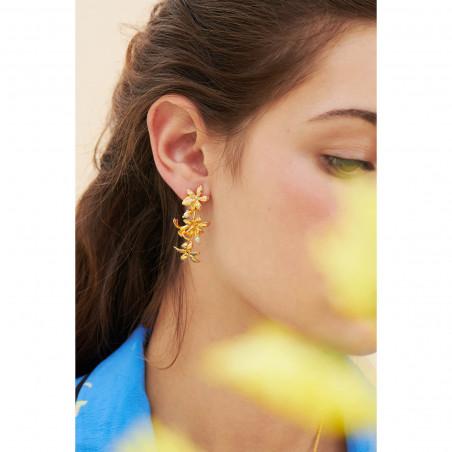 Boucles d'oreilles amas de roches en cubes dorés , verre taillé noir et chaînes