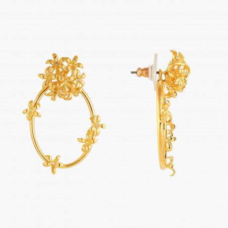 Bracelet jonc style victorien, verre taillé bleu et amas de roches en cubes dorés (S)