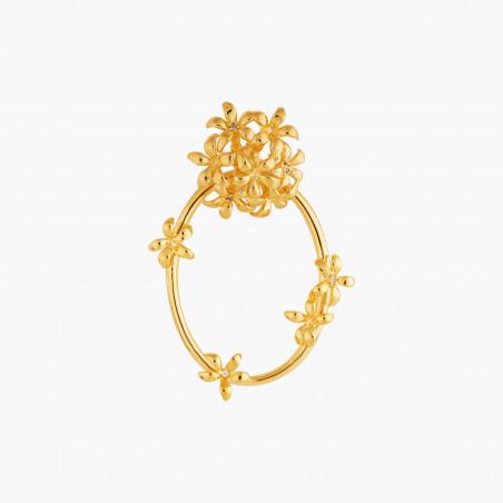 Bracelet jonc style victorien, verre taillé bleu et amas de roches en cubes dorés (M)