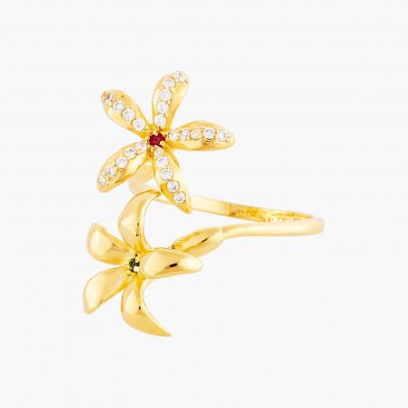 Boucles d'oreilles clip verre taillé noir, feuilles et petite mûre dorée