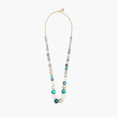 Payful cat and blue stone semi-rigid bracelet