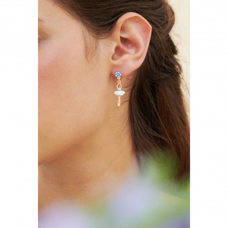 Boucles d'oreilles 2 pierres rondes terre de sienne
