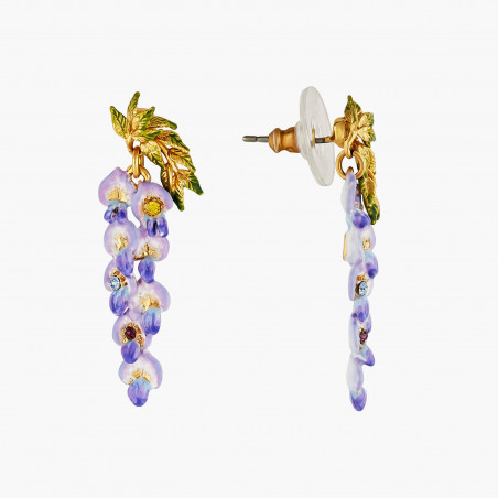 Bague ajustable fleur violette et verre taillé translucide