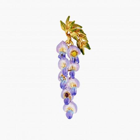 Bague ajustable fleur rose, petites feuilles et pierre gris-bleue