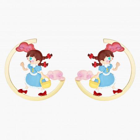 Boucles d'oreilles clip branche fleurie et verre taillé