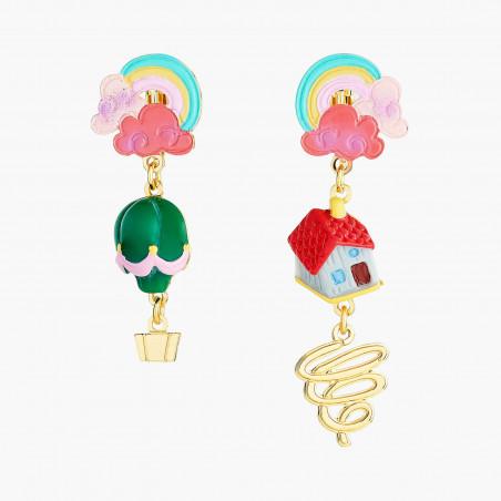 Boucles d'oreilles clip fleur rose sur branche fleurie