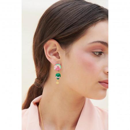 Pink flower on flowered branch earrings