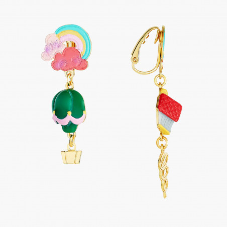 Daisy, poppy and chains clip earrings