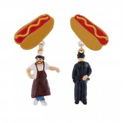 Boucles D'oreilles Boucles D'oreilles Clip Asymétriques Vendeur De Hot-dog Et Agent Nypd