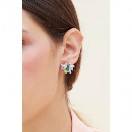 Boucles d'oreilles clip petite fleur violette sur branche fleurie