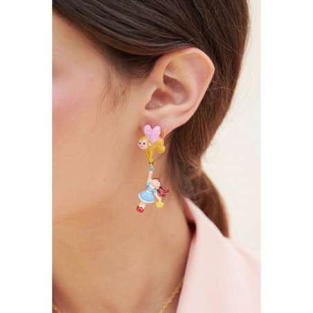 Bubbles of golden beads and freshwater pearl earrings