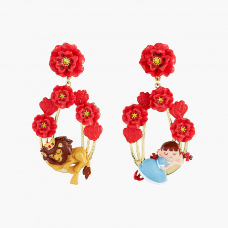 Three-colored stone and golden beads earrings