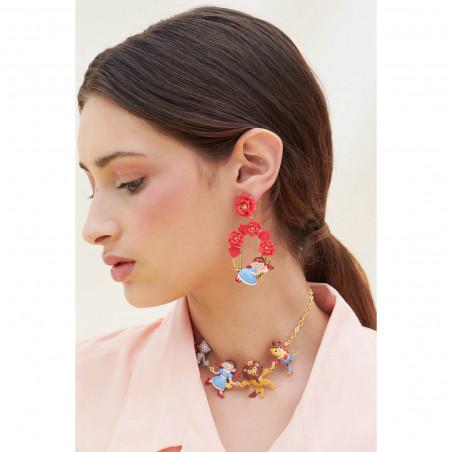 Boucles d'oreilles pierre noire, ébullition de perles dorées et chaînes