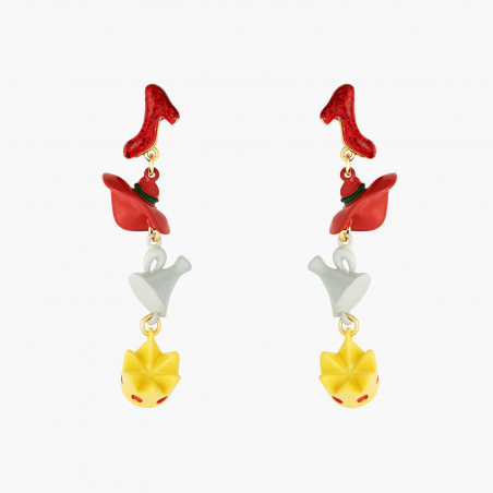 Bird on a branch of cherry blossom clip earrings