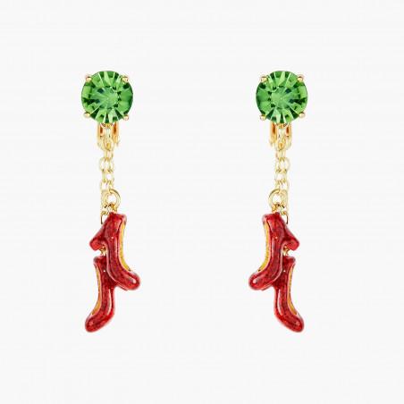 Boucles d'oreilles dormeuses fleurs de cerisier et verre taillé