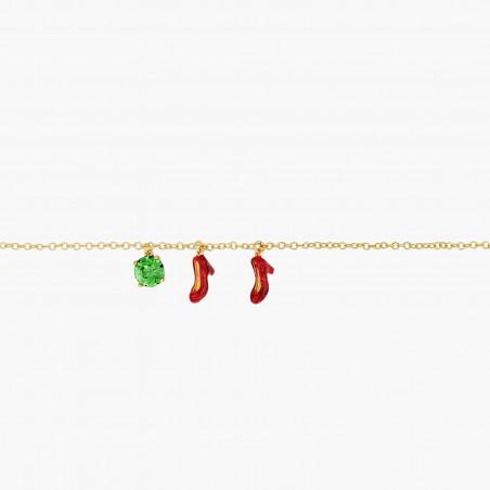 Collier couture double rangs oiseaux sur branche de ceriser en fleurs et pampilles