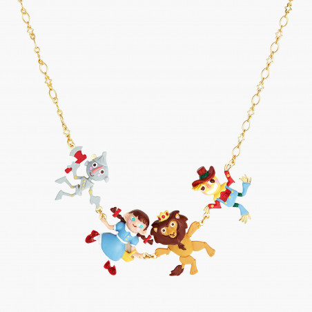 Bird, multi cherries blossom and charms long necklace