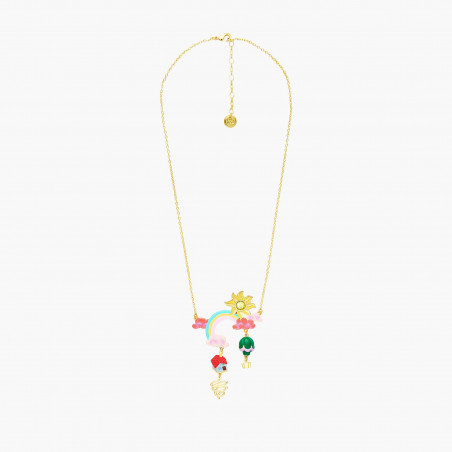 Tropical flower and strassed clasp earrings