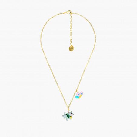 Boucles d'oreilles clip crocodile, pierre bleue et fleur tropicale