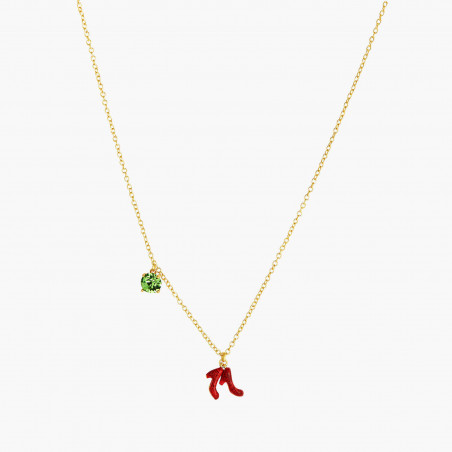 Multi element of a tropical garden long necklace