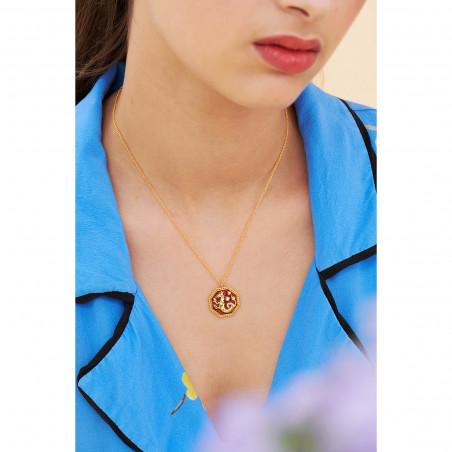 Bracelet porte-bonheur fleur tropicale et pierre