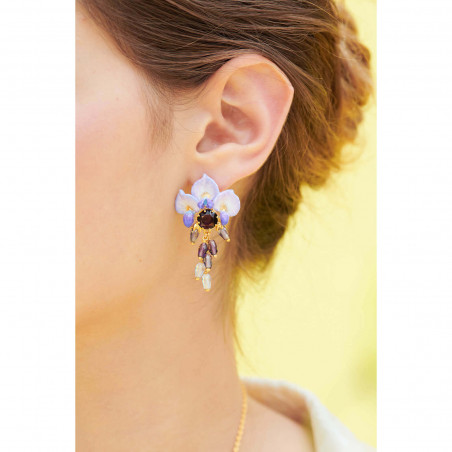 Flowered wave shaped large hoops