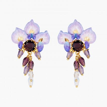 Boucles D'oreilles Pendantes Boucles d'oreilles tiges fleur de glycine et perles et pierre de verre facetté220,00€ ANOF101T/...