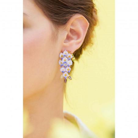 Pinkish beige square stone earrings