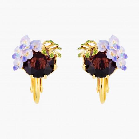 Boucles d'oreilles clip 4 pierres beige rosé