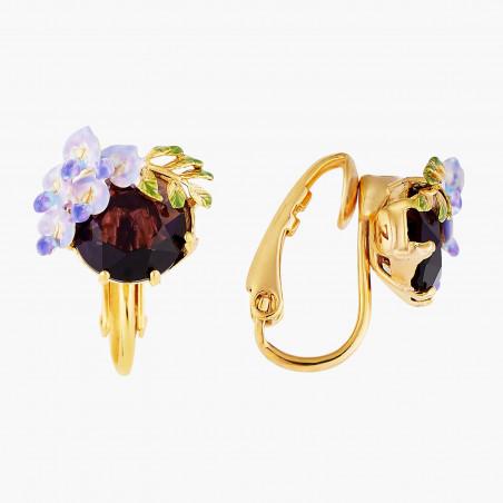 4 blue grey stones clip earrings