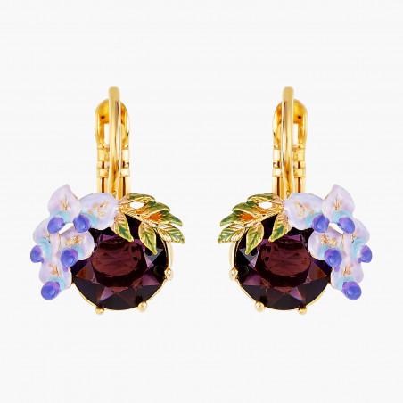 4 blue grey stones earrings