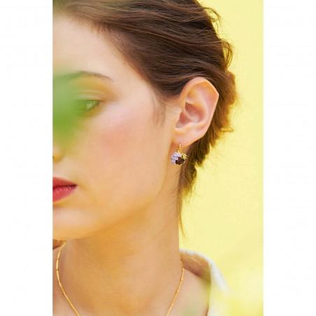 Boucles d'oreilles 7 pierres beige rosé