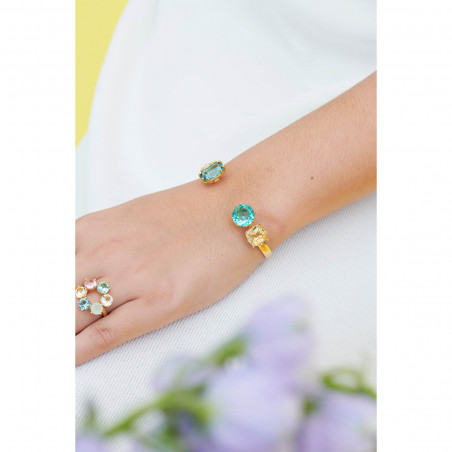 Bracelet luxe deux rangs bleu gris