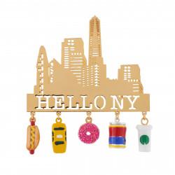 Accessoires Broche Touristes Devant Les Momuments Emblématiques New-yorkais