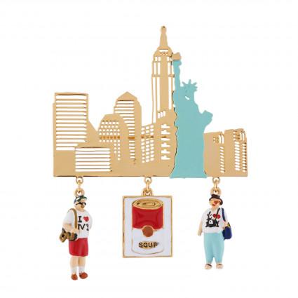 broche hello new york et pampilles embl matiques n2 by les n r ides. Black Bedroom Furniture Sets. Home Design Ideas